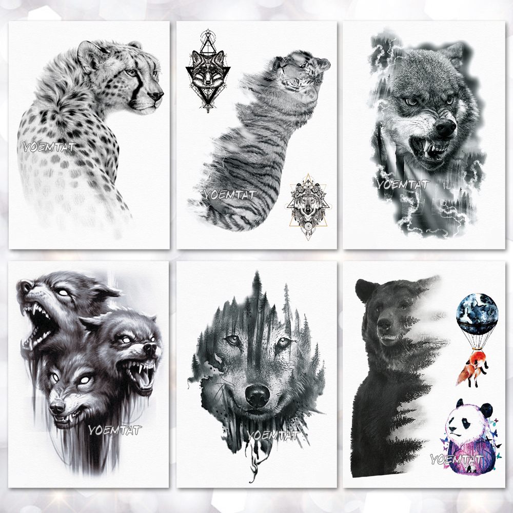Waterproof Temporary Tattoo Sticker Wolf Tiger Pattern Tattoo Water Transfer Body Art Fake Tattoo For Women Men