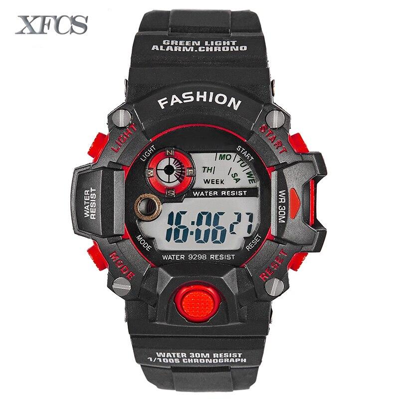 <font><b>Xfcs</b></font> 2017 водонепроницаемые наручные электронные автоматические часы для мужчин digitais часы Бег мужские человек digitales Часы Секундомер Тактическ&#8230;