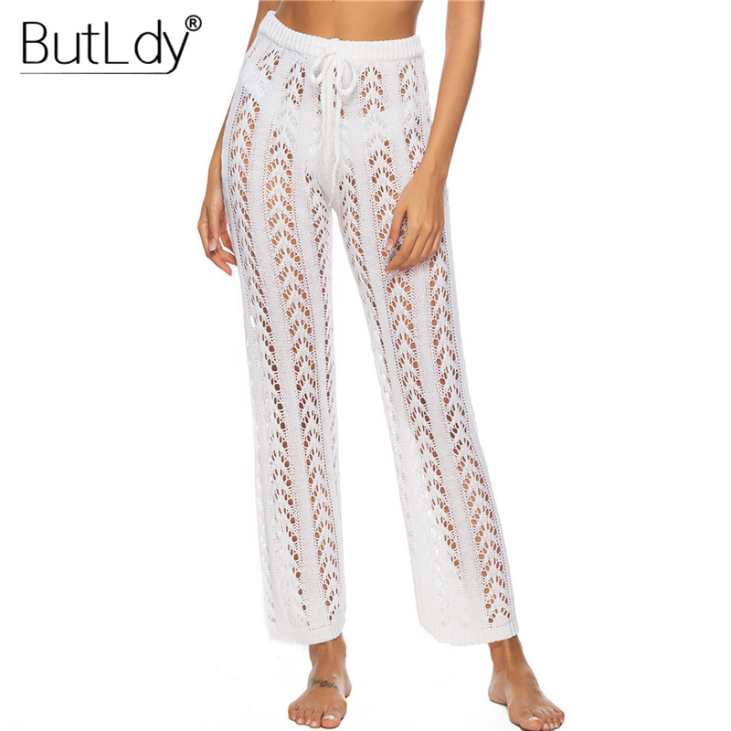 Transparent Hollow Out Summer Beach   Pants   Women 2019 Sexy Mesh Knitted Casual Wide Leg   Pants     Capris   Loose Long Joggers Bottoms