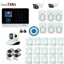 SmartYIBA bezprzewodowy Wifi GSM RFID SMS biuro w domu włamywacz bezpieczeństwa bezprzewodowy do drzwi na zewnątrz wewnętrzna kamera IP syreny aplikacji