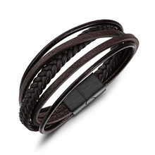 Brown Braided Rope Leather Bracelets for Men Stainless Steel Magnet Clasp Rock Punk Style Men Jewelry Accessories (BA102403)(China)