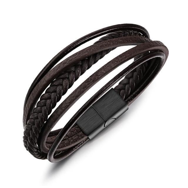 d50df5b36e1c Marrón trenzado cuerda pulseras de cuero para los hombres Cierre de imán de acero  inoxidable Rock