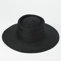 Black Straw Hats for Women Men Summer Sun Hat Wide Brim Fedora Straw Beach Hat Seagrass Outdoorsman Hat Derby Gambler Hat