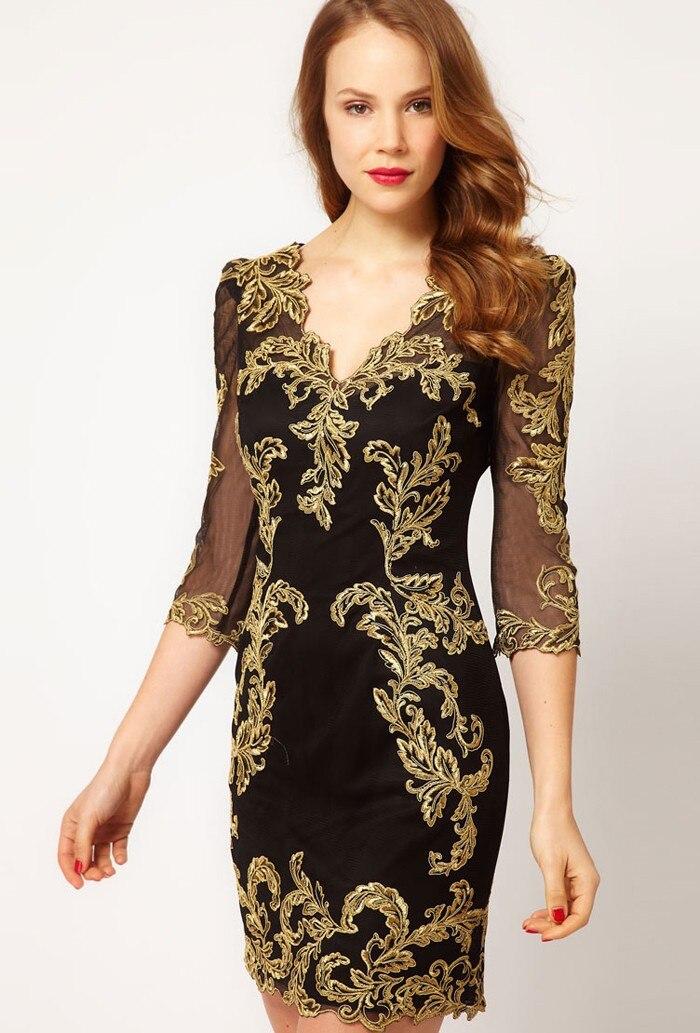 En vente mode Vintage fil d'or broderie fantaisie gaze une-pièce robe, robe de Designer de haute classe