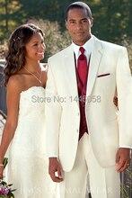 New Custom Ivory Tow Button Man Suit Groom Tuxedos Groomsmen Best Men Wedding Suits Blazer Jacket + Pants +Vest +Tie