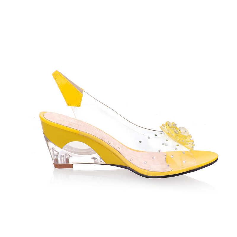 KARINLUNA 2018 büyük boy 30-43 çiçek peep toe kama fretwork topuklar kadın ayakkabı kadın moda bayan yaz sandalet