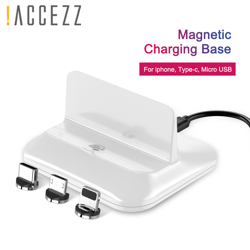 !ACCEZZ Magnetic Charger Dock Micro USB 8 Pin Type-C For Iphone 8 X Plus XS For Samsung Xiaomi Huawei Fast Magnet Charging Stand