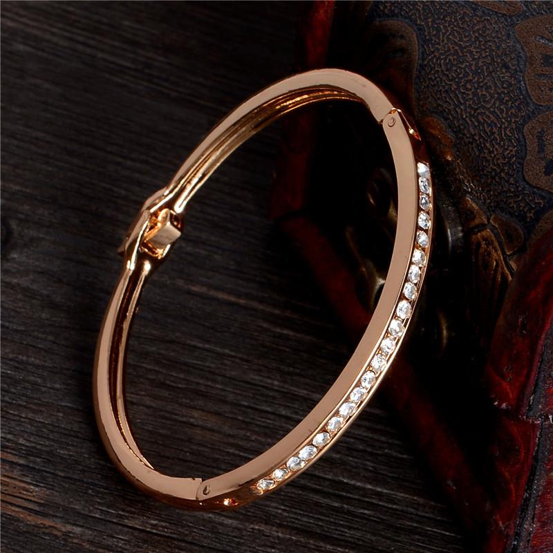 SHUANGR Fashion Rose Gold Color Jewelry Austrian Crystal Classic Lady's Closed Bangle Bracelets, Women's Bracelet 10