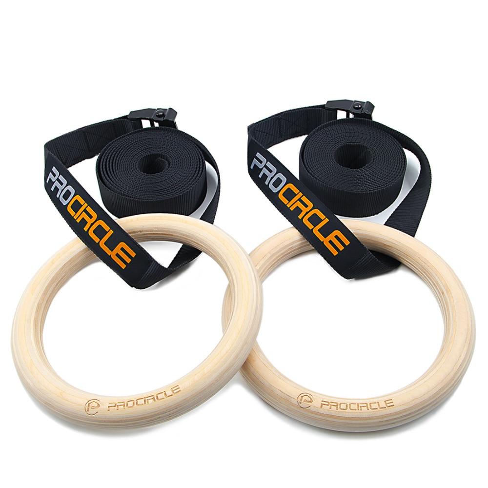 Anneaux de gymnastique 28mm Exercice Fitness Gym Exercice 1 paire/lot en bois Crossfit Pull Ups Muscle Anneau Avec Sangles Boucles