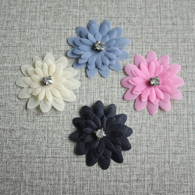10pcs 40mm Silk Color Daisies And Rhinestones Diy Handmade Flowers Decoration For Clothing Bride Dresses Accessories