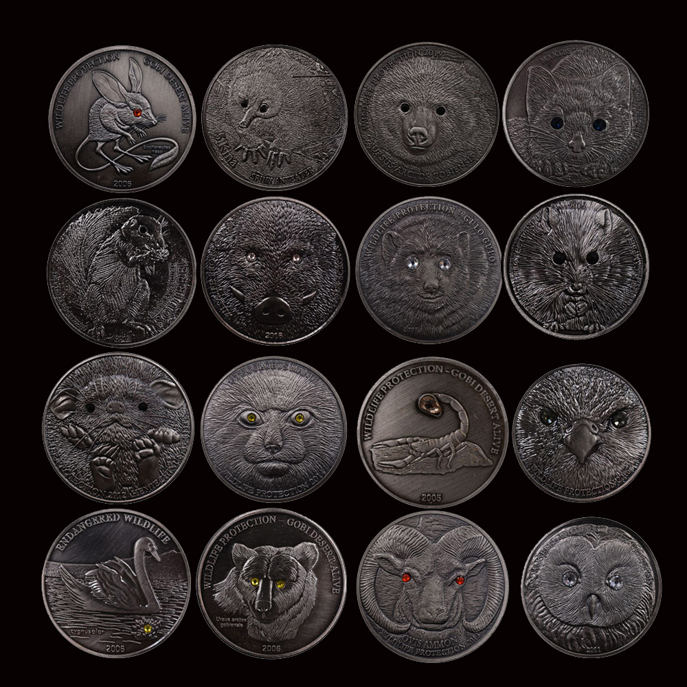 16pcs set Mongolia Endangered Wildlife Bronze Coin Set Commemorative Animal Coin Challenge Coin Worth Collecting