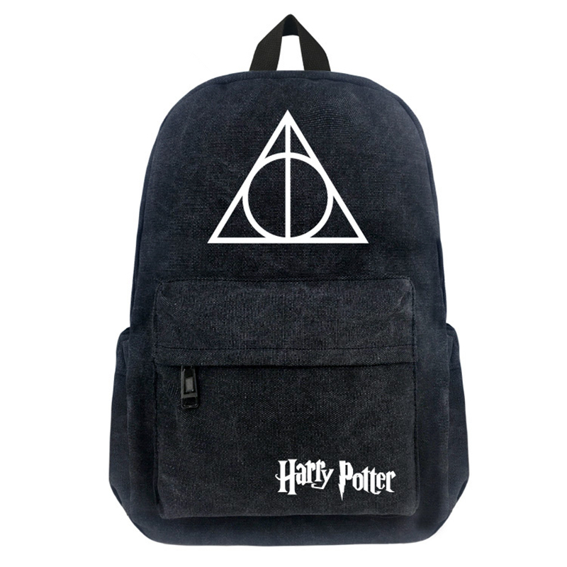 16 Inch Harry Potter Canvas Backpack Student School Backpack Teenagers Vintage Mochila Rucksack Travel Bag