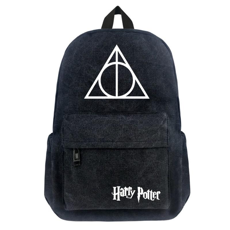 16 Inch Harry Potter Canvas Backpack Student School Backpack Teenagers Vintage Mochila Rucksack Travel Bag