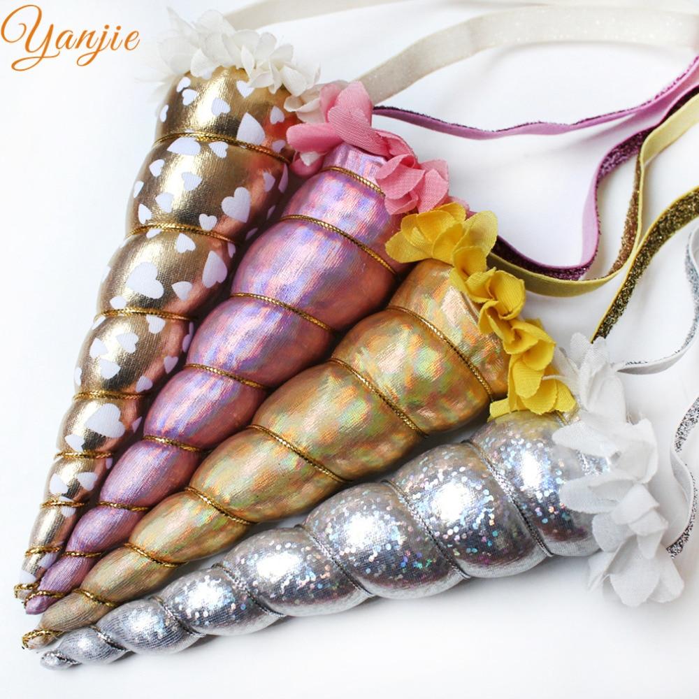 Image 2 - DHL 100pcs/lot 5 Glitter Unicorn Headband For Girls 2020 Metallic Unicorn Horn Elastic Hair Band Kids Party Hair Accessoriesunicorn headbandglitter headbandunicorn horn -