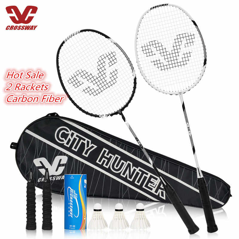 Badminton Set 2Pcs Strung Badminton Racket Professional Carbon Badminton Racquet 26-28 LBS With Free Bag And 3 Badmintons
