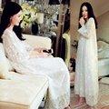Fashion Women's Silk Pajamas Night-robe Sleepwear Embroidery Robe Gown Sets Two-piece Long Nightwear White Nightdress Home Wear