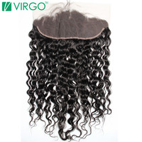 Virgo Hair Company Lace Frontal Closure Water Wave 100% Remy Human Hair 130% Density Slightly Pre Plucked With Baby Hair