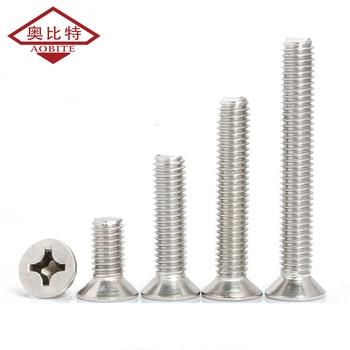 цена на 304 Stainless Steel Silver Screws Countersunk Head Screw Cross Head Screw Machine Screw Bolt Machine Screw M3 M4 M5 Hardware