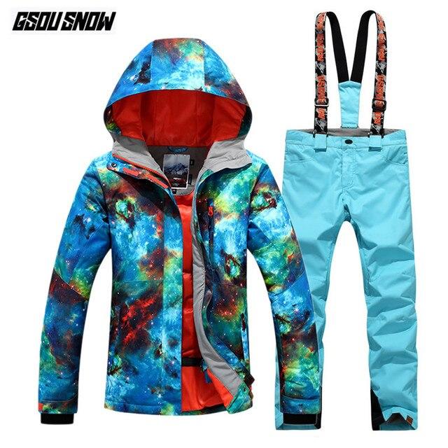 GSOU SNOW Brand Ski Suit Women Waterproof Ski Jackets Pants Winter Mountain  Skiing Suits Female Snowboard Sets Outdoor Snow Coat 360254e7c