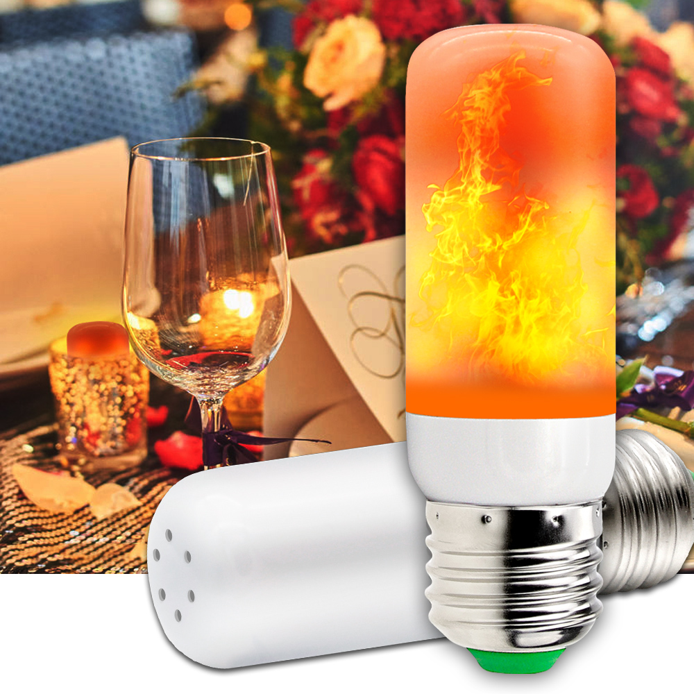 E27 LED Flame Lamps Fire Effect Bulb LED Lamp Candle 220V Flicker Bulb 2835SMD Burning Flame Light 42leds Indoor Decoration 110V