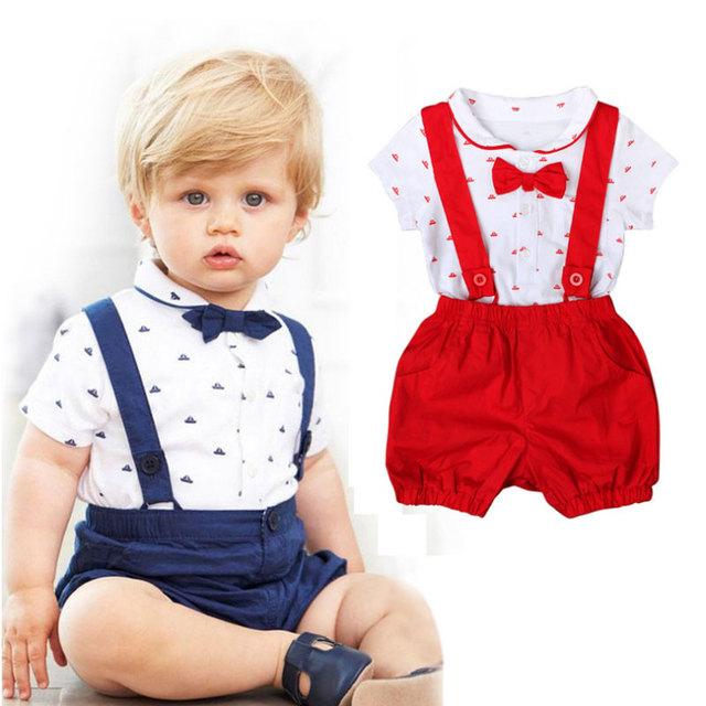2017 Nuevo Estilo de Ropa de Bebé Establece Arco Diseñadores Traje Suspender Pantalón Corto de Algodón Recién Nacido Del Bebé Ropa Trajes De Bautizo Para Niños