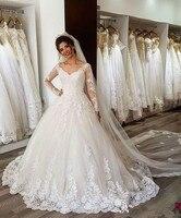 Robe De Mariee Dubai white Wedding Dress Luxury Appliques Lace Wedding Gown Custom Made Dresses Wedding Vestidos De Novia 2020