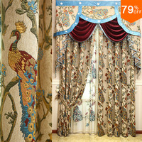 Fir forest Color Bird Curtain jungle Tree And Peacock Luxury Mode Design Match champion present Work Artist Luxurious Drapes New
