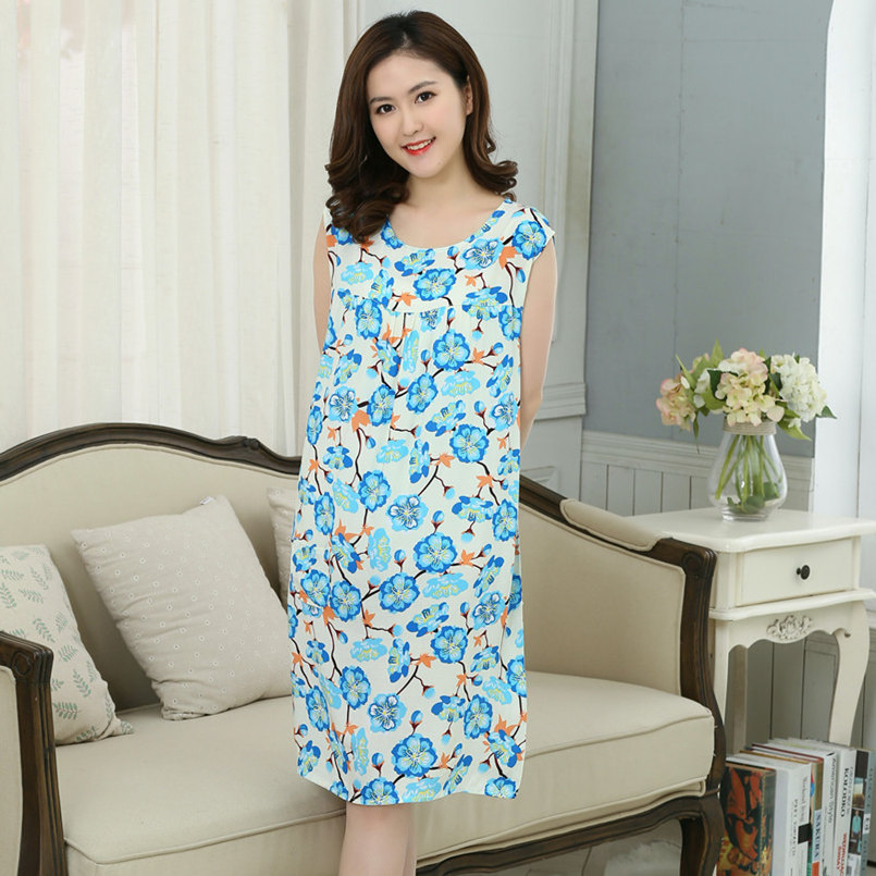 Image 2 - Women Plus Size L  XXXL Floral Sleep Shirt Dress Nightgown Women Cotton Nightdress Nightshirt Ladies Nightwear Pijama Sleepwear    -
