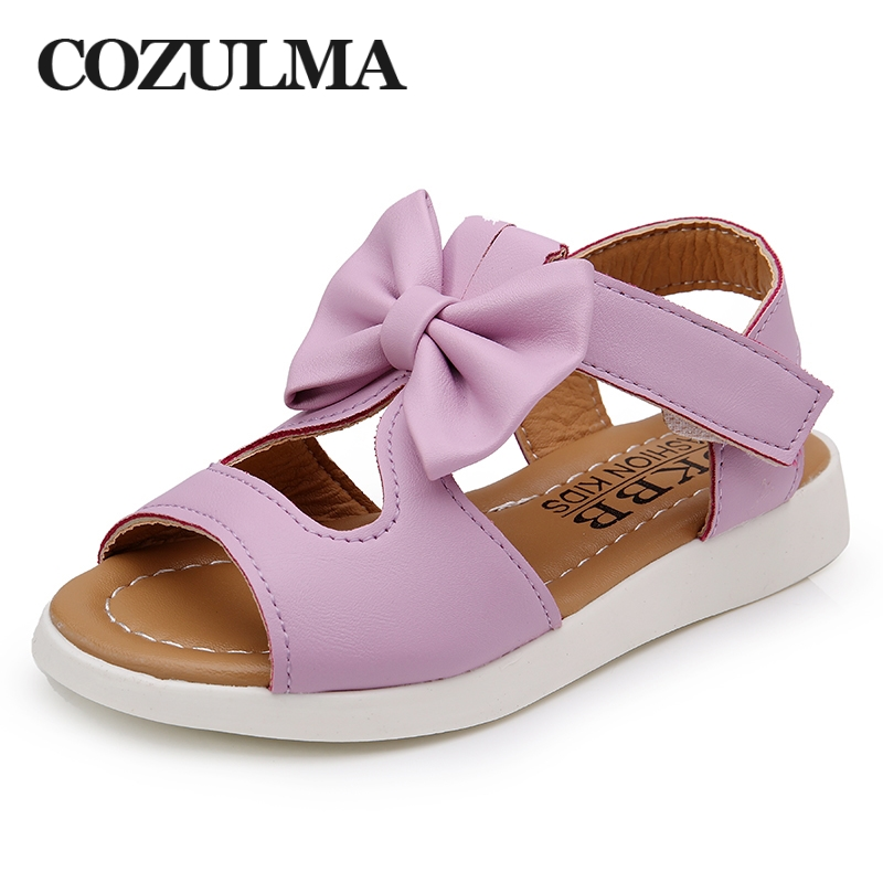 COZULMA Summer Girls Sandals Children Shoes Princess Dress Shoes Kids Girls Bowtie Beach Sandals PU Leather Shoes Size 22 37 in Sandals from Mother Kids