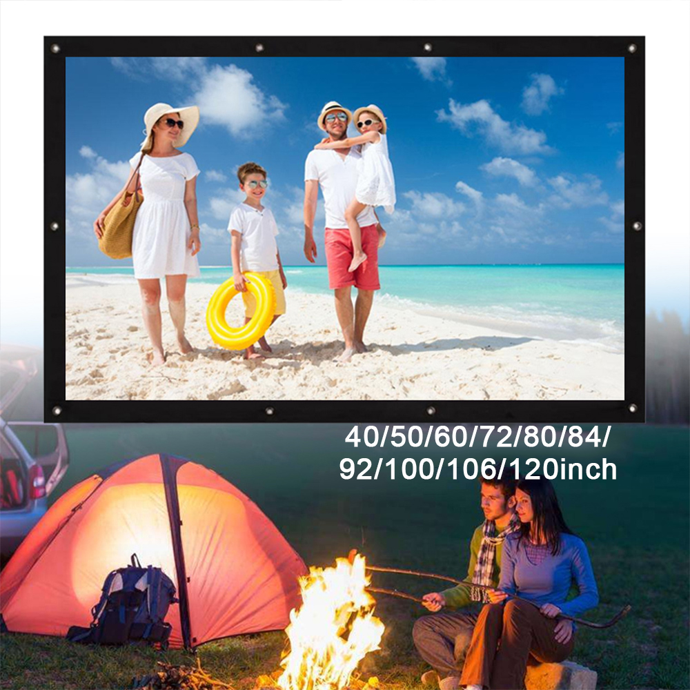 Cewaal Folded HD 4:3 Business Gaming Projection Screen Durable Outdoor Home Theater Video Projector Screen Cloth Screens