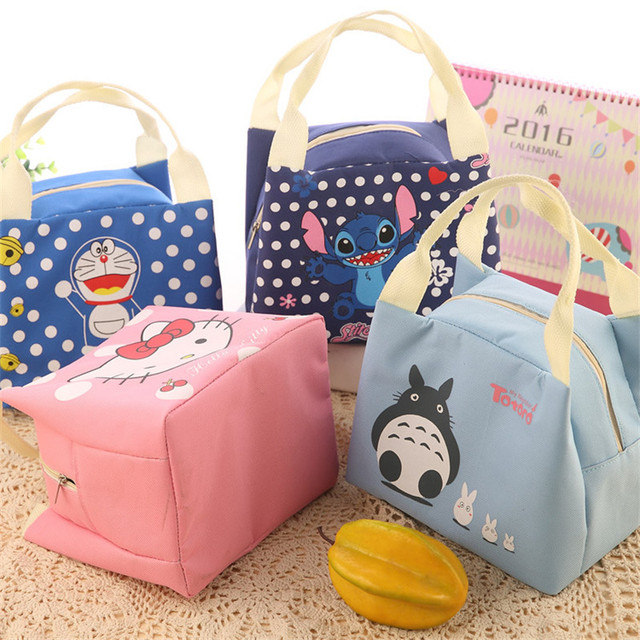Cartoon Portable Insulated Canvas Lunch Bag Thermal Food Picnic Lunch Storage Bags Cooler Box Bag Tote Food Container Bag