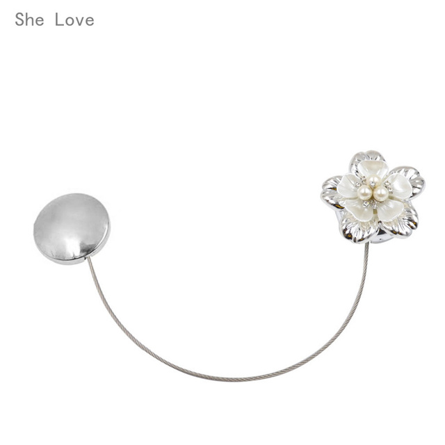 She Love Fashion Flower Magnetic Retractable Curtain Clips Tie Backs  Holdbacks Window Decoration