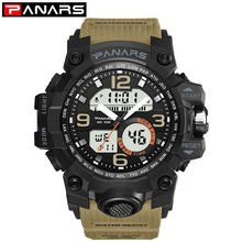 PANARS Sports Diving Water Resistant Watch Men Dual Display Mens Digital Watches Timer Alarm LED Watch Man Military Wristwatch