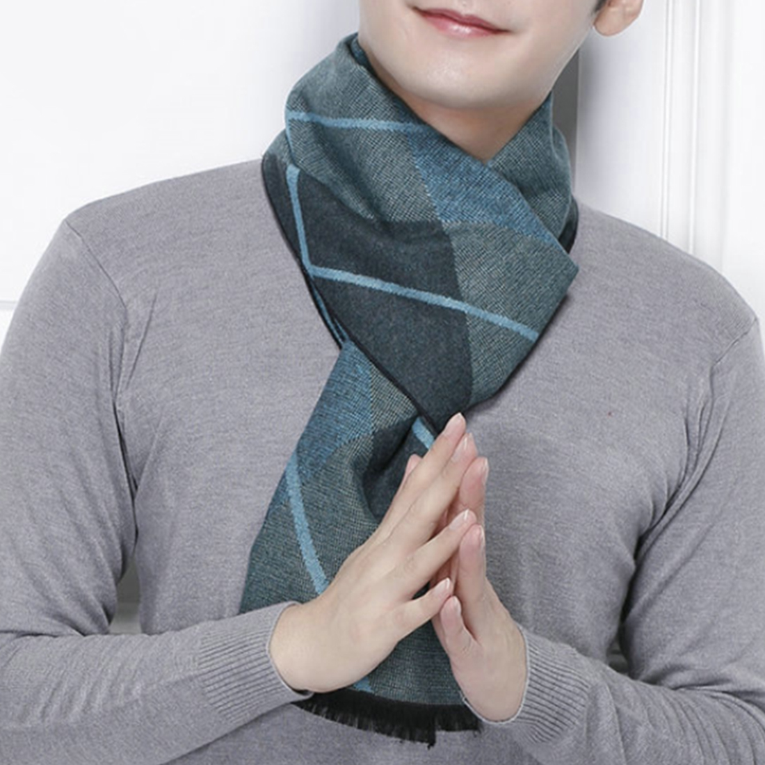 New Design Casual Scarves Winter Men'S Cashmere Scarf Luxury Brand High Quality Warm Neckercheif Modal Scarves Men