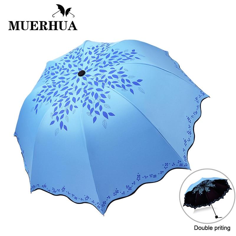 MUERHUA Красочные Покрытие зонтик 3 складной ветрозащитный Защита от солнца экран воланами Мини Зонты Дождь для женщин карман купить на AliExpress