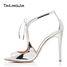 Woman Sexy Peep Toe Sandals Party Wedding Dress High Heels Ladies Ankle Strap Shoes Silver Patent Leather Fashion Hotsale 2019
