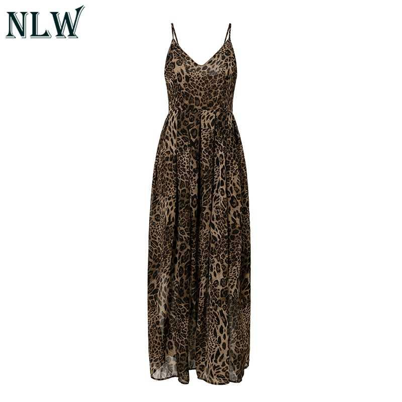 NLW Maxi eteei Ремень Леопардовый принт Макси платье для женщин Feminino длинное платье вечернее шифоновое платье Vestidos 2019 осень зима