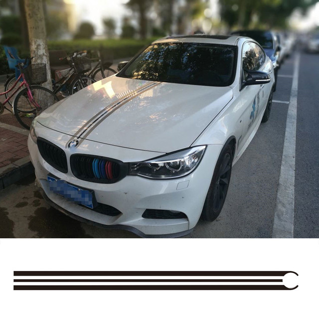 Car Hood Bonnet Racing Stripes Lines Vinyl Decals Garland Stickers - Bmw racing stripes decals