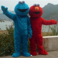 2015 New Free Shipping Long Fur Red Big Eyes Costumes Elmo Mascot Costumes Free Gifts Fan