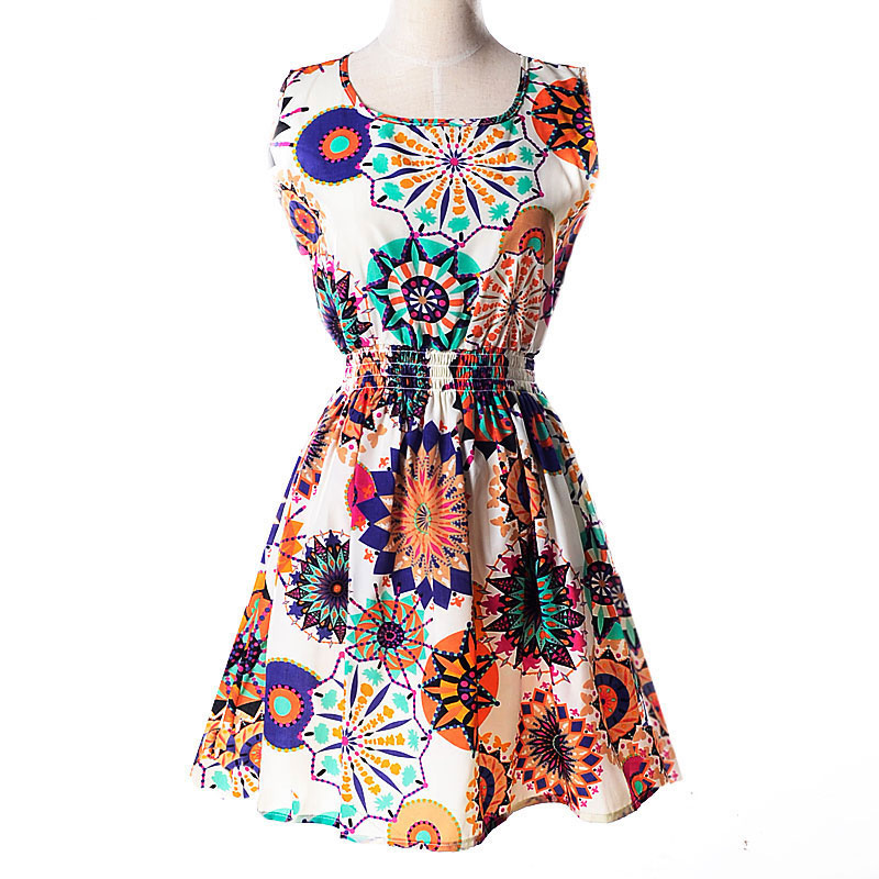 CUHAKCI Woman Beach Dress Summer Boho Print Clothes Sleeveless Party Dress Casual Short Sundress Plus Size Floral Dress S092 in Dresses from Women 39 s Clothing
