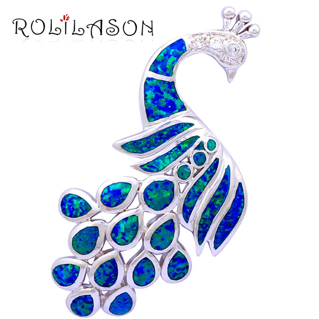 Amazing Peacock style huge shape Royal design Luxury Blue Fire Opal Silver Stamped Necklace Pendants Fashion jewelry OP380