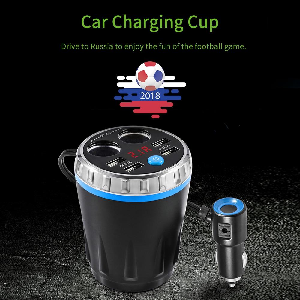 Car Charging Kit Holder 2 Car Charger Socket Charging Cup 4 USB 5V 2.1A Port Universal Battery Test