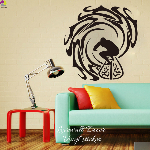 Surfer And Waves Wall Sticker Kids Room Bedroom Surfing Sea Sport