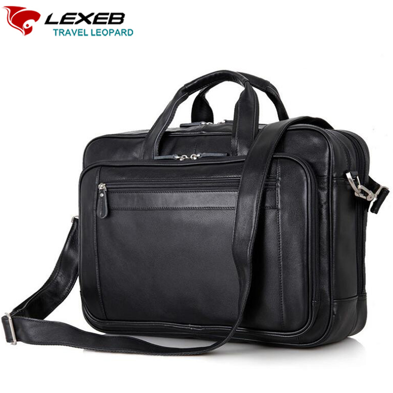 LEXEB Brand Men Laptop Bag Men's Leather Briefcase 17 Computer Business Traveling Bags Double Zips Opening High Quality Black lexeb brand lawyer briefcase vintage crazy horse leather men laptop bag 15 inches high quality office bags 42cm length brown