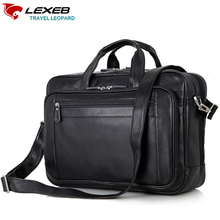 LEXEB Luxury Brand Men Business Real Genuine Leather Laptop Portfolio Bag 17.3″ Men's Shoulder Bags High Quality Black Briefcase