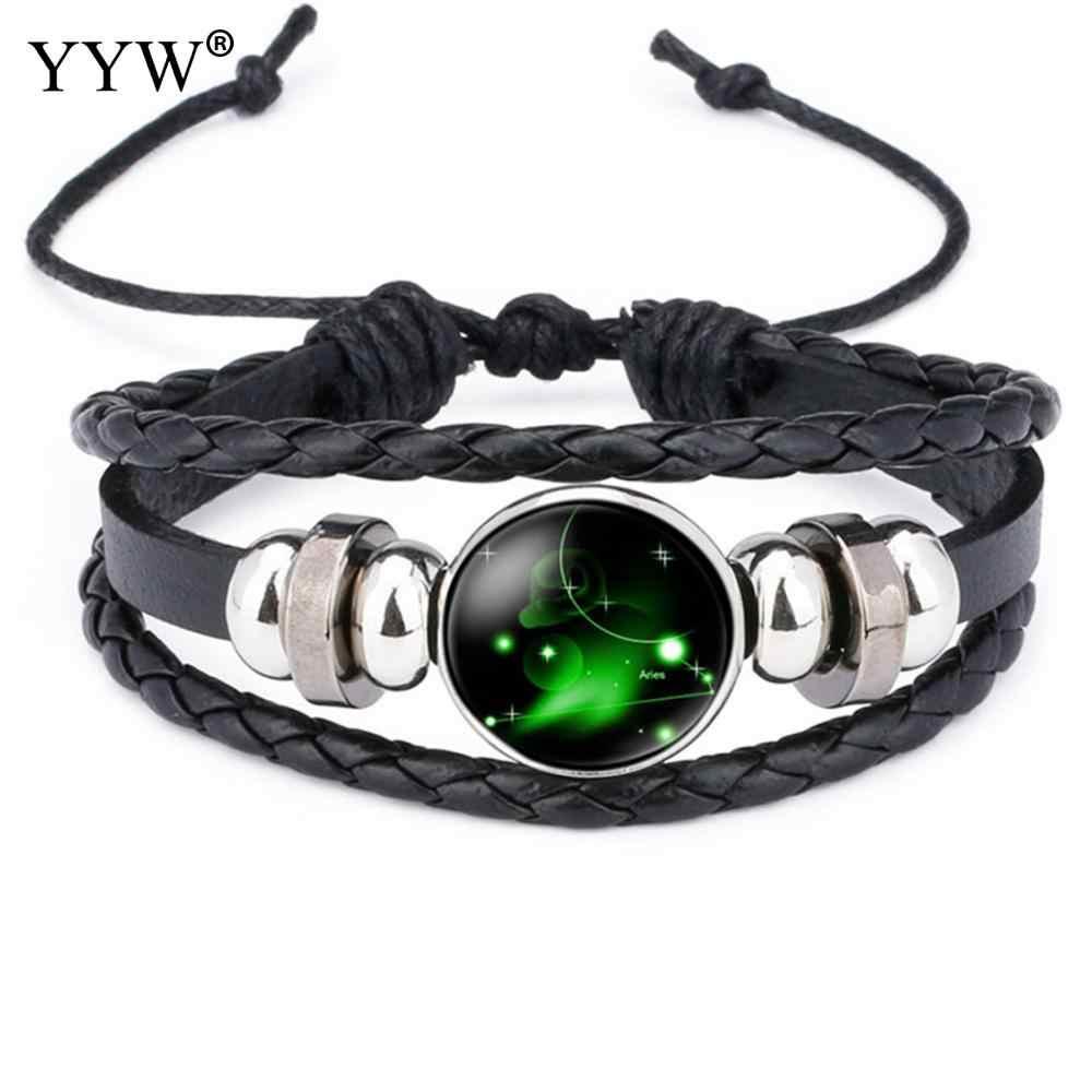 12 Star Zodiac Leather Bracelets Wristbands Leather Bracelet Bangles Galaxy Constellation Sign Necklace Birthday Wedding Gifts