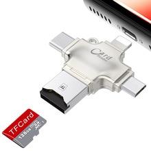 Kismo 4 в 1 устройство для чтения карт памяти Micro SD кардридер Lightning/Mirco USB OTG кардридер для iphone 7 8 iPad Air Mini Andriod