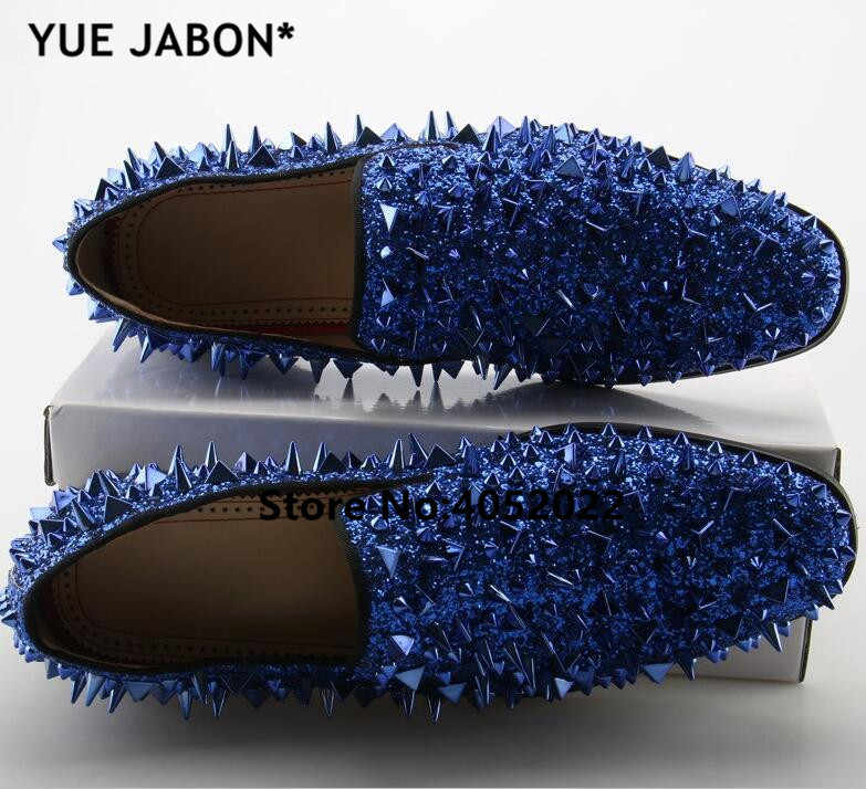 1adb8e234845 ... Fashion Gold Spiked Loafers Shoes Men Bling Sequins Banque Wedding Shoes  Male Slip On Rivets Men ...