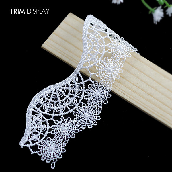 Embroidered Trim Lace White Motif Fabric Venise Sew on Scrapbooking Applique Sewing Supplies for Costume Accessories 28ydT1073