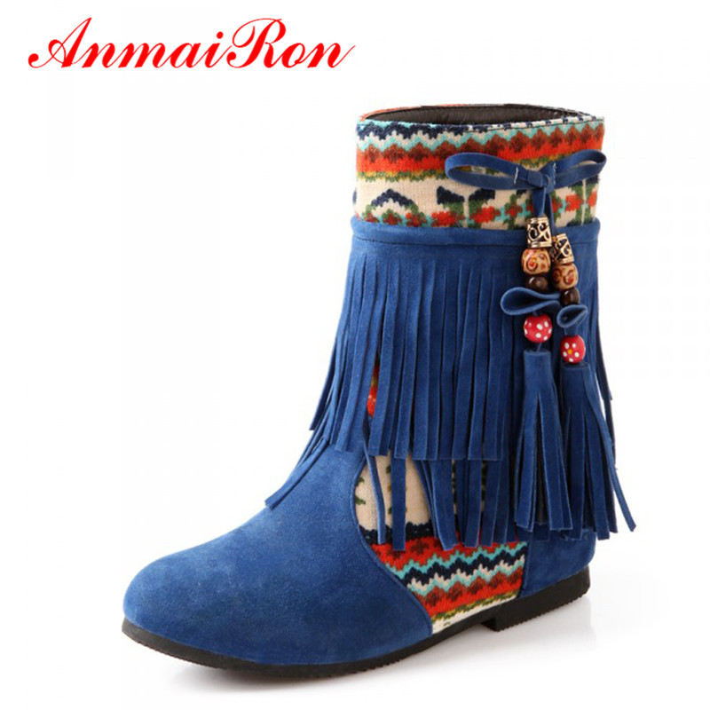 ANMAIRON Women Boots New Fashion Spring Autumn Flat Hidden Heels Beaded Tassel Boots National Trend Shoes Large Plus Size 43 3d lipstick cross body bag women s new american street fashion novelty quirky funny party statement clutch bag handbag